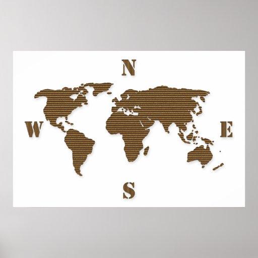Cardboard World Map Poster