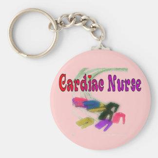 Cardiac Nurse Watercolor Art Gifts Basic Round Button Key Ring