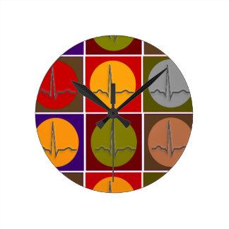 Cardiac QRS Pop Art Clocks