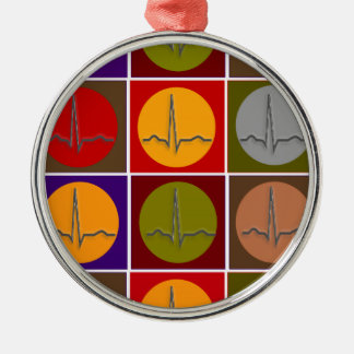 Cardiac QRS Pop Art Silver-Colored Round Decoration