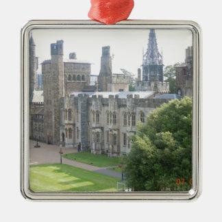 Cardiff Castle Silver-Colored Square Decoration