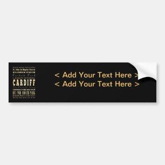 Cardiff City United Kingdom Typography Art Car Bumper Sticker