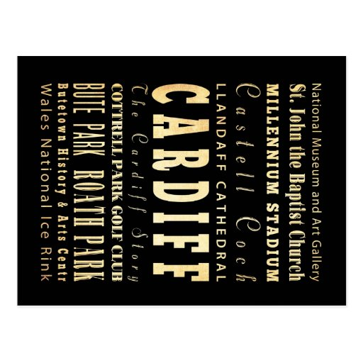 Cardiff City United Kingdom Typography Art Post Cards