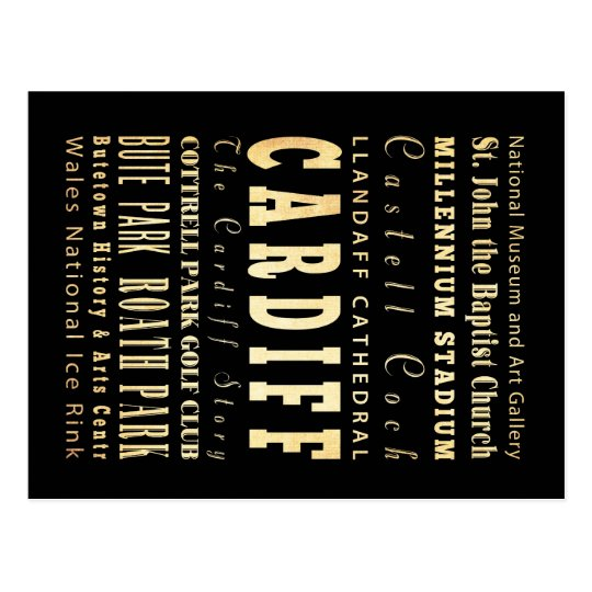 Cardiff City United Kingdom Typography Art Postcard