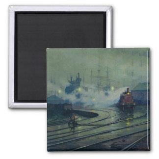 Cardiff Docks, 1896 Square Magnet