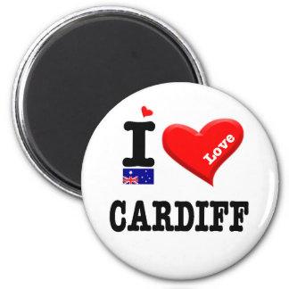 CARDIFF - I Love 6 Cm Round Magnet