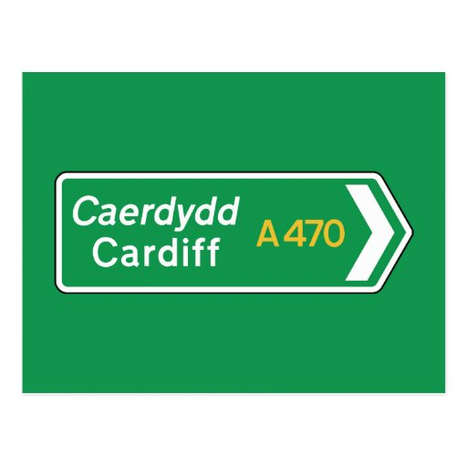 Cardiff, UK Road Sign Post Card