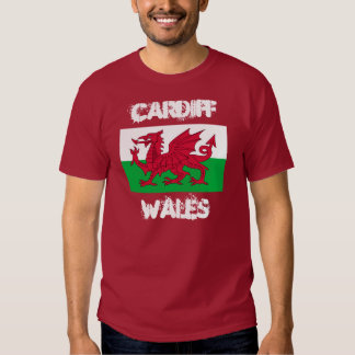 Cardiff, Wales with Welsh flag Tshirt