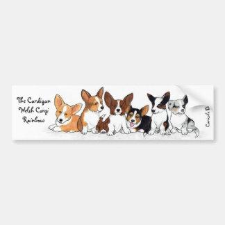 Cardigan Puppy Rainbow Bumper Sticker