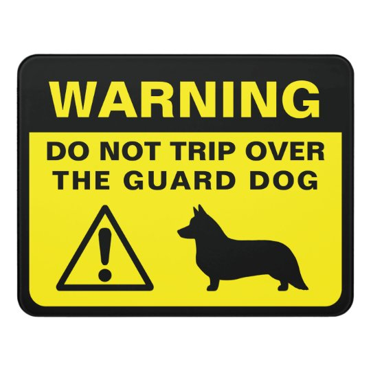 Cardigan Welsh Corgi Silhouette Guard Dog Warning Door