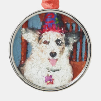 Cardigan Welsh Corgi Silver-Colored Round Decoration