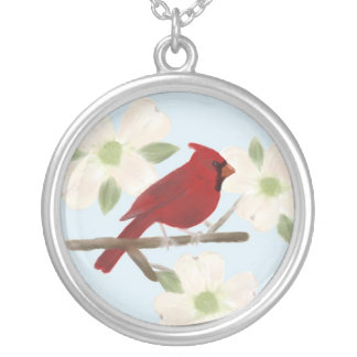 Cardinal and Dogwood Watercolor Necklace