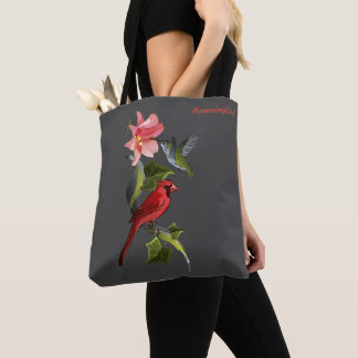 Cardinal and Hummingbird Pink Lily Personalized Tote Bag