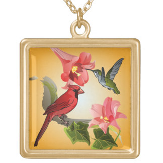 Cardinal and Hummingbird with Pink Lilies and Ivy Gold Plated Necklace