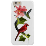 Cardinal and Hummingbird with Pink Lily and Ivy Barely There iPhone 6 Plus Case