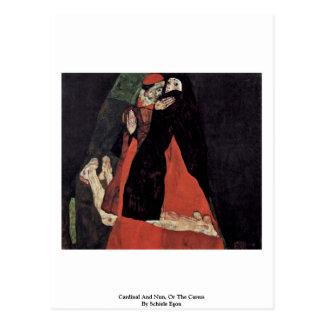 Cardinal And Nun, Or The Caress By Schiele Egon Postcard