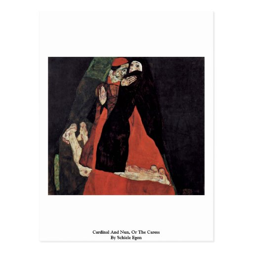 Cardinal And Nun, Or The Caress By Schiele Egon Postcards