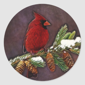 Cardinal and Pinecones Classic Round Sticker
