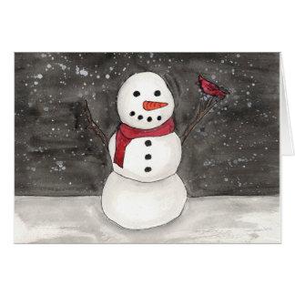 Cardinal and Snowman Card