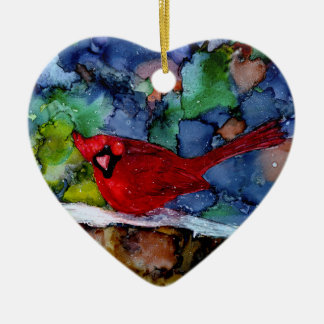 Cardinal At Night Christmas Ornament