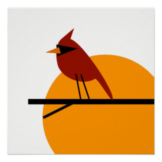 Cardinal at Sunrise Poster