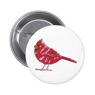 CARDINAL BIRD 6 CM ROUND BADGE