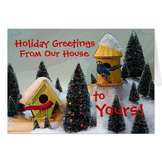 Cardinal Bird House holiday card