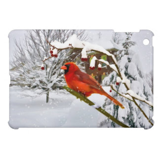 Cardinal Bird in the Snow Cover For The iPad Mini