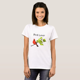 Cardinal Bird Lover T-Shirt, White T-Shirt