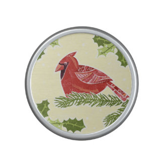 Cardinal Bird on Branch with Christmas Holly Speaker