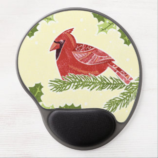Cardinal Bird on Branch with Holly Christmas Desig Gel Mouse Mats