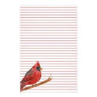 Cardinal Bird Red Lined Custom Stationery