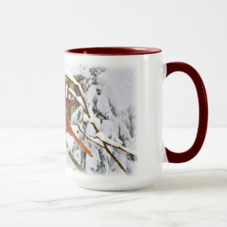 Cardinal Bird, Snow, Winter, Mug