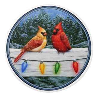 Cardinal Birds and Christmas Lights Ceramic Knob