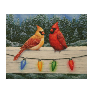 Cardinal Birds and Christmas Lights Wood Print