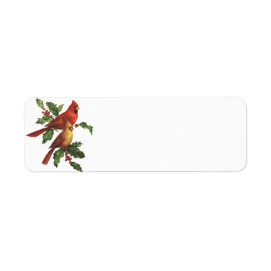 Cardinal Birds Holiday Label