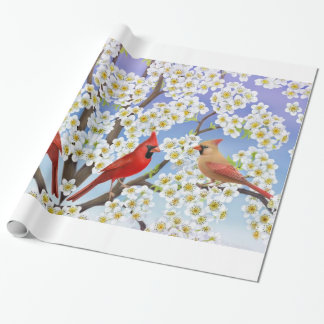Cardinal Birds in Apple Blossoms Gift Wrap Wrapping Paper