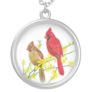 CARDINAL BIRDS SILVER PLATED NECKLACE