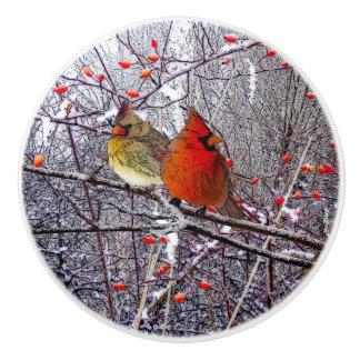 Cardinal Christmas Knob