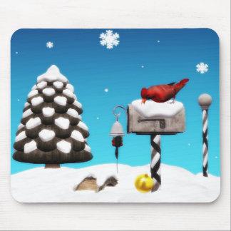 Cardinal Christmas mailbox mousepad