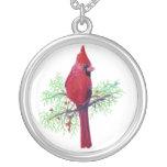 Cardinal Christmas Round Pendant Necklace