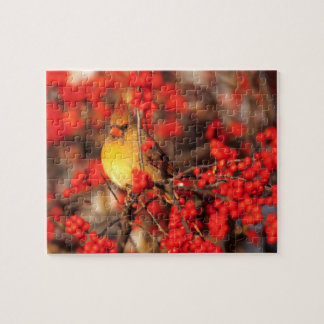 Cardinal female and red berries, IL Jigsaw Puzzle