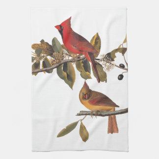 Cardinal Grosbeak Audubon Birds of America Tea Towel