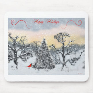 Cardinal Holiday Greetings Mouse Pad