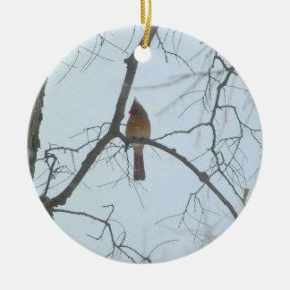 Cardinal in a Tree Round Ceramic Decoration