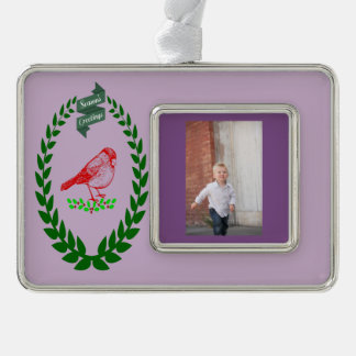 Cardinal in Christmas Tree and Special Photo Silver Plated Framed Ornament