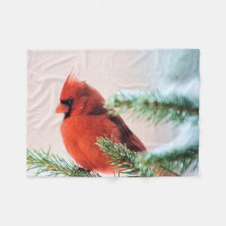Cardinal in Snow Dusted Fir Tree Fleece Blanket
