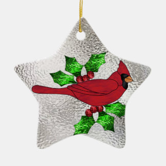 Cardinal in Stained Glass Christmas Ornament