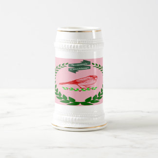 Cardinal In The Middle Of The Christmas Wreath Beer Stein