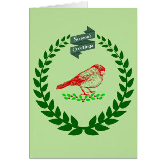 Cardinal In The Middle Of The Christmas Wreath Card